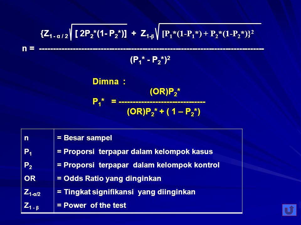 {Z1 - α / 2 [ 2P2*(1- P2*)] + Z1-β [P1*(1-P1*) + P2*(1-P2*)}2
